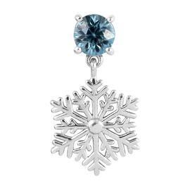 Blue Zircon (Rnd) Snowflake Pendant in Platinum Overlay Sterling Silver 1.00 Ct.