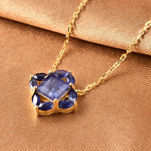 Isabella Liu Floral Collection - AA Masoala Sapphire Necklace (Size 18) in Yellow Gold Overlay Sterling Silver