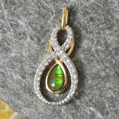AA Canadian Ammolite (Pear 8x5 mm), Natural White Cambodian Zircon Pendant in 14K Gold Overlay Sterling Silver.