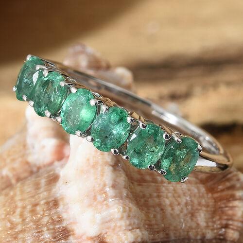 9K White Gold AA Kagem Zambian Emerald (Ovl) Ring 0.850 Ct.
