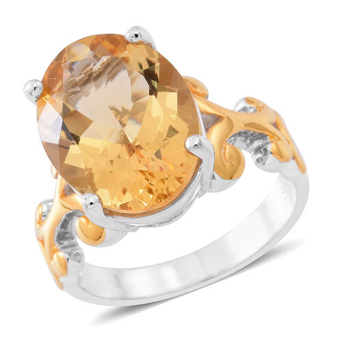 Designer Inspired- Uruguay Citrine (Ovl) Ring in Yellow Gold and Rhodium Plated Sterling Silver 8.00