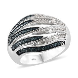 Blue and White Diamond (Rnd) Band Ring in Platinum Overlay with Blue Plating Sterling Silver 0.500 C