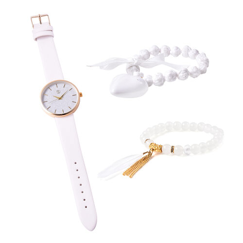 3 Piece Set - STRADA Japanese Movement Watch Simulated White Agate and Multi Gemstone Beaded Bracele