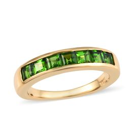 Russian Diopside (Princess) 7 Stone Ring in 14K Gold Overlay Sterling Silver 1.000 Ct.