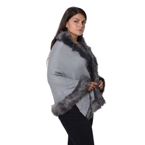 Solid Colour Crystal Blanket Wrap with Faux Fur Border (Size 56x142+7.6 Cm) - Grey