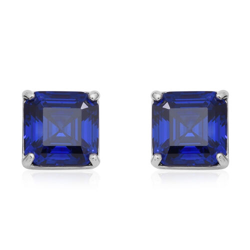 ELANZA Signature Collection- Simulated Tanzanite Stud Earrings (with Push Back) in Rhodium Overlay S