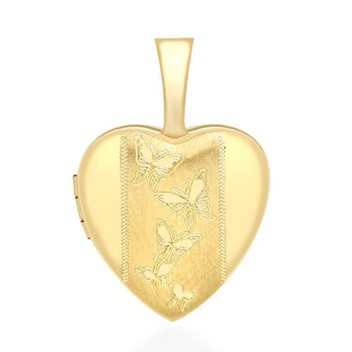 9K Yellow Gold Heart Butterfly Locket