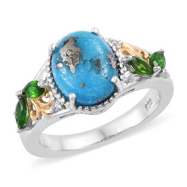 3 Carat Persian Turquoise, Russian Diopside and Natural Cambodian Zircon Ring in Sterling Silver