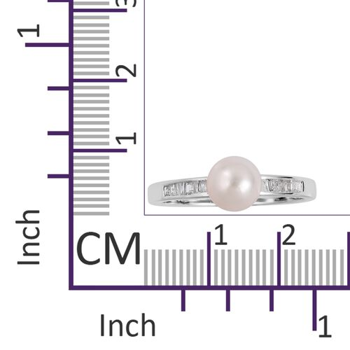 Japanese Akoya Pearl (Rnd 6.5-7mm), Diamond Ring in Rhodium Plated Sterling Silver