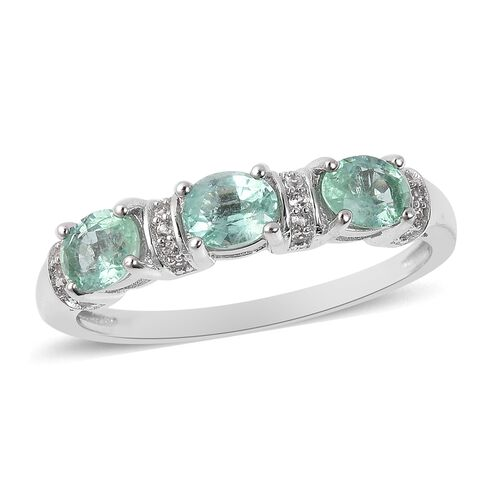 Boyaca Colombian Emerald (Ovl) and Natural White Cambodian Zircon  Ring in Rhodium Overlay Sterling