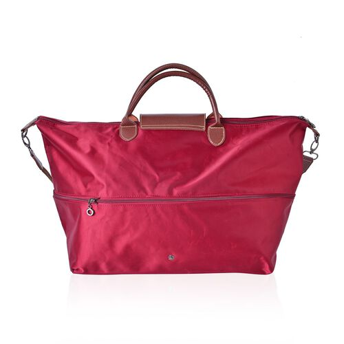Designer Inspired - Wine Colour Foldable Travel Bag with Removable Shoulder Strap (Size 58X50X40X33 Cm)