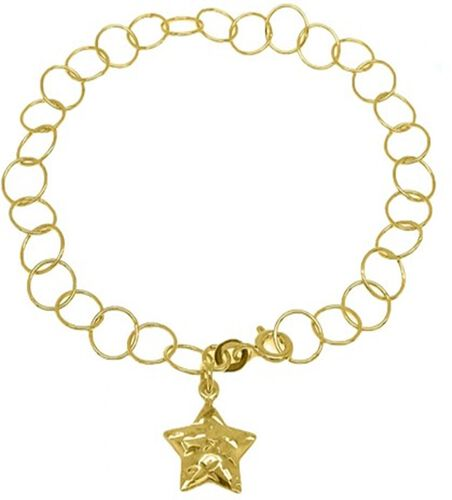 New York Close Out Yellow Gold Overlay Sterling Silver Round Link Bracelet (Size 7.5) with Star Char