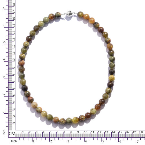 Extremely Rare AAA Mali Garnet (Rnd 10mm) Beads Necklace (Size 18) in Rhodium Overlay Sterling Silver with Magnetic Lock 420.000 Ct.