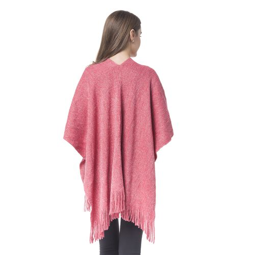 Italian Designer Inspired-Rose Red and Silver Colour Kimono with Fringes (Size 90x65 Cm)