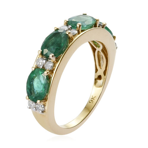 9K Yellow Gold AAA Kagem Zambian Emerald (Ovl), Diamond Ring 2.000 Ct.
