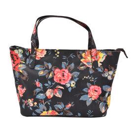 Floral Print Handbag with Zipper Closure (Size 23x37x15cm) - Navy and Multi