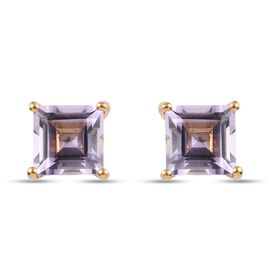 Pink Amethyst Solitaire Stud Push Post Earring in 14K Gold Overlay Sterling Silver 1.70 ct  1.700  C
