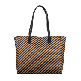 Bulaggi Collection - Stripe Pattern Shopping Bag (Size 33x30x10cm) - Camel
