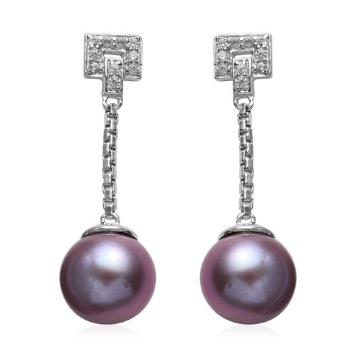 Purple Edison Pearl and Natural Cambodian Zircon Dangle Earrings (with Push Back) in Platinum Overla