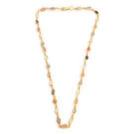 One Time Close Out Deal- Multi Moonstone (Ovl) Necklace (Size 18) in Gold Overlay Sterling Silver 23.000 Ct.