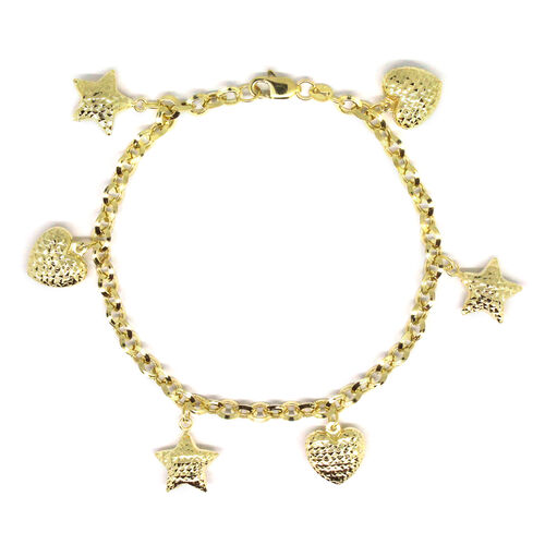 Designer Inspired- 9K Yellow Gold Heart and Star Charm Bracelet (Size 7.5), Gold wt 4.59 Gms.