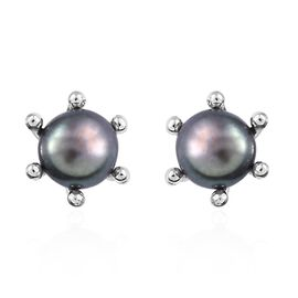 Fresh Water Peacock Pearl (1.50 Ct) Platinum Overlay Sterling Silver Earring  1.500  Ct.