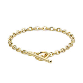 9K Yellow Gold T-Bar Oval Belcher Bracelet (Size 7.25)