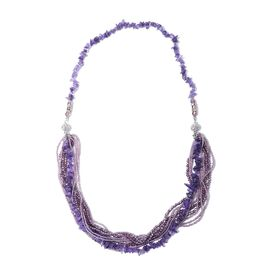 Amethyst, Multi Colour Beads and White Austrian Crystal Necklace