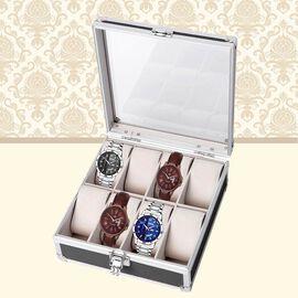Aluminium 8 Slot Watch Box (Size 21.5x20x8 Cm) - Black