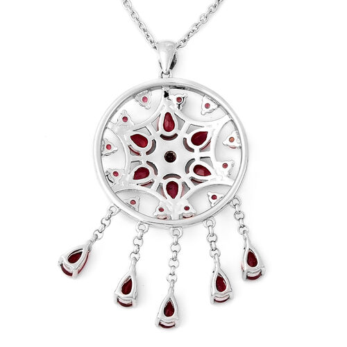 LucyQ Dream Catcher Collection - African Ruby Pendant with Chain (Size 20) in Rhodium Overlay Sterling Silver 5.80 Ct.