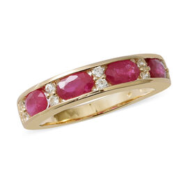 9K Yellow Gold AAA Burmese Ruby (Ovl 2.07 Ct), Natural Cambodian White Zircon Ring (Size Q) 2.410 Ct.