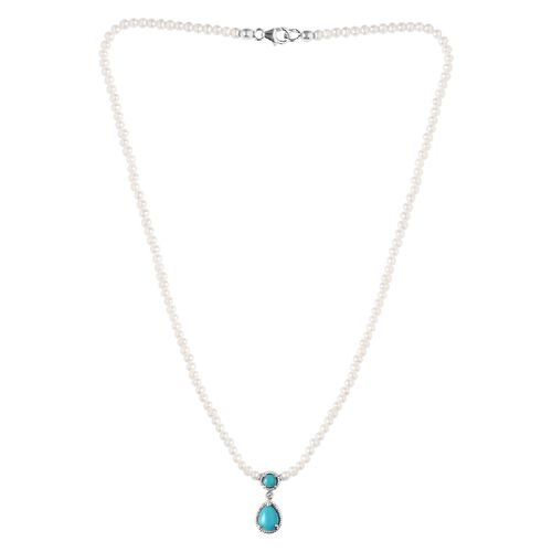 Arizona Sleeping Beauty Turquoise Freshwater Pearl,  and Natural Cambodian Zircon Necklace (Size 18)