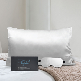 Set of 2 - 100% Mulberry Silk Front Side- Pillowcase (Size 50x75cm) and Eye Mask (Size 23.5x10.5cm)