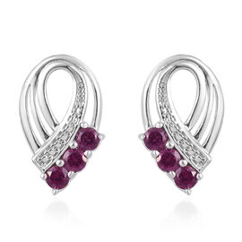 Rhodolite Garnet (Rnd) Earrings (with Push Back) in Platinum Overlay Sterling Silver 1.00 Ct.