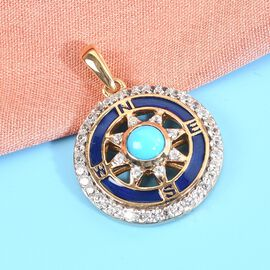 Arizona Sleeping Beauty Turquoise and Natural Cambodian Zircon Enamelled Pendant in 14K Gold Overlay Sterling Silver 1.190 Ct.