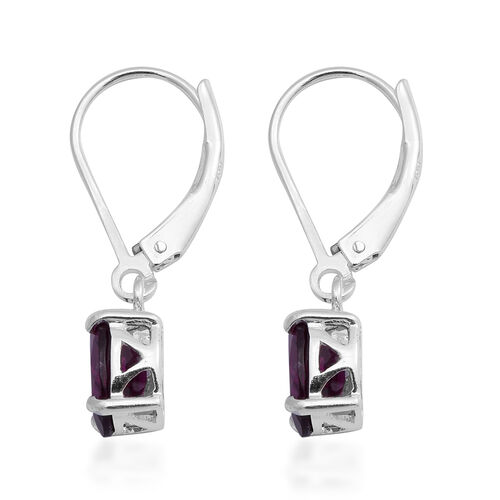 MP Rhodolite Garnet Lever Back Earrings in Rhodium Overlay Sterling Silver 2.85 Ct.