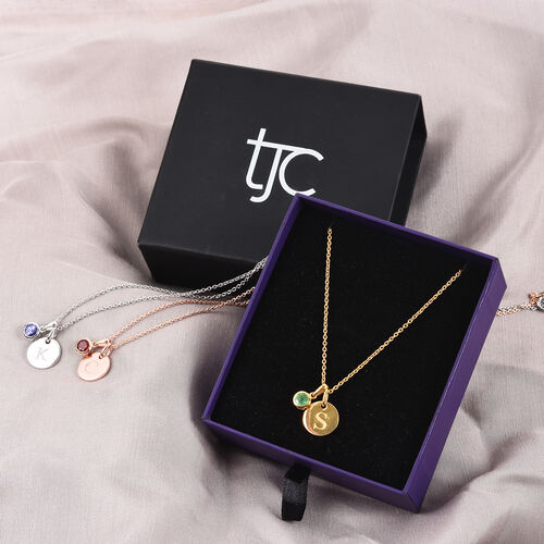 Personalise Engraved Birthstone and Initial Disc with 20Inch Chain in Silver