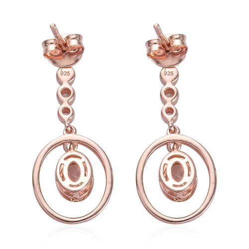 Marropino Morganite and Natural Cambodian Zircon Dangle Earrings(with Push Back) in Rose Gold Overlay Sterling Silver 1.25 Ct.
