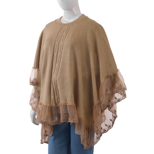 Camel Colour Poncho with Embellished Net Lace
