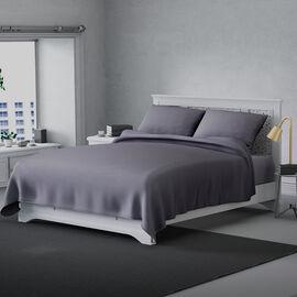 Serenity Night 4 Piece Set - Solid Microfibre 1 Flat Sheet (275x265cm), 1 Fitted Sheet (140x190+30cm) & 2 Pillowcase (50x75cm) - Light Grey (Double)
