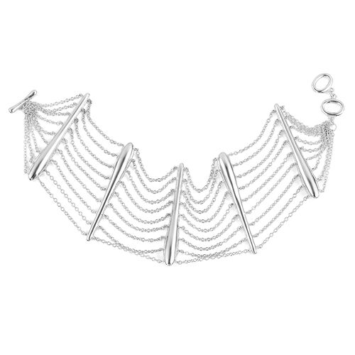 LucyQ Rain Bracelet (Size 8) in Rhodium Plated Sterling Silver 36.27 Gms.