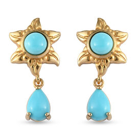Arizona Sleeping Beauty Turquoise Dangle Star Earrings (with Push Back) in Yellow Gold Overlay Sterl