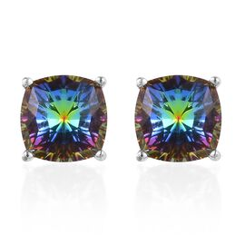 J Francis - Crystal from Swarovski Vitrail Medium Crystal Stud Earrings (with Push Back) in Platinum