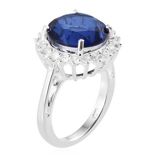 Ceylon Colour Quartz (Rnd 7.00 Ct), Natural White Cambodian Zircon Ring in Sterling Silver 8.000 Ct