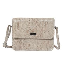 ASSOTS LONDON Genuine Leather Snake Print Pearl Crossbody Bag