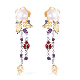 Jardin Collection Mother of Pearl and Multi Gemstone Drop Earrings in Rhodium Plated Silver