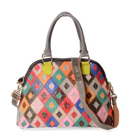 100% Genuine Leather Multicolour Block Pattern Tote Bag (Size 36x15.5x27 Cm) with Detachable Shoulde