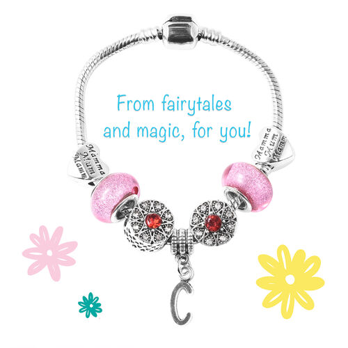 C Initial Charm Bracelet for Children in Simulated Pink Colour Bead, Red and White Austrian Crystal Size 6.5 Inch in Silver Tone