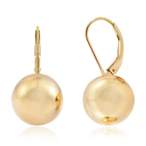 Vicenza Collection- Designer Inspired 14K Gold Overlay Sterling Silver Ball (10 mm) Lever Back Earrings, Silver wt. 3.70 Gms.