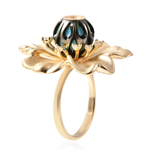 Galatea Pearl - Tahiti Pearl and Natural Cambodian Zircon Flower Design Carved Ring in Yellow Gold Overlay Sterling Silver 4.35 Ct